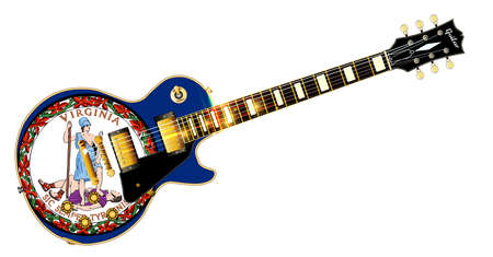 The definitive rock and roll guitar with the Virginia State flag seal flag isolated over a white background. Illustration