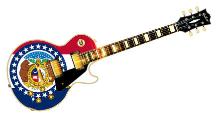 The definitive rock and roll guitar with the Missouri State flag seal flag isolated over a white background.