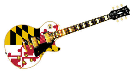 headstock: The definitive rock and roll guitar with the Maryland State flag seal flag isolated over a white background.
