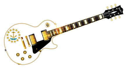 The definitive rock and roll guitar with the Rhode Island State flag seal flag isolated over a white background.