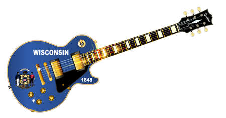 The definitive rock and roll guitar with the Wisconsin State flag seal flag isolated over a white background.