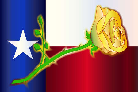 yellow rose: A cartoon style yellow rose set on a Texas flag background. Illustration