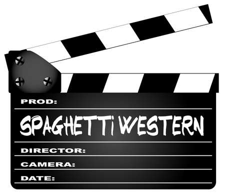 home video camera: A typical movie clapperboard with the legend spaghetti western Movies isolated on white.