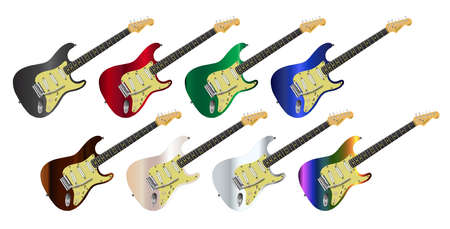 A collection of electric guitars over  white background Illustration