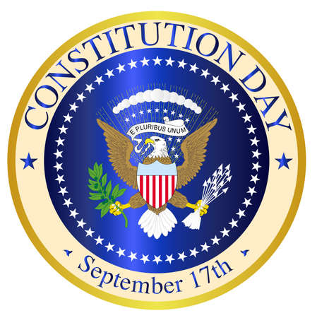 A depiction of the seal of the President of the United States of America mocked up for Constitution Day over a white background