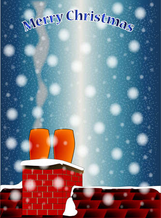 snowing: A rooftop on a cold and snowing Christmas Eve with a Marry Christmas message Illustration