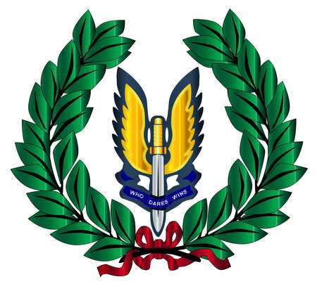 A depiction of the Special Air Service badge and laurel isolated over a white background