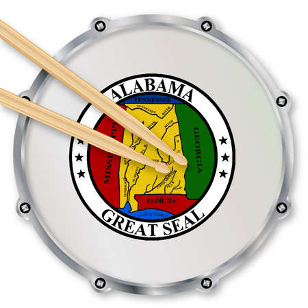 Alabama state seal snare drum batter head with tuning screws and  with drumsticks over a white background