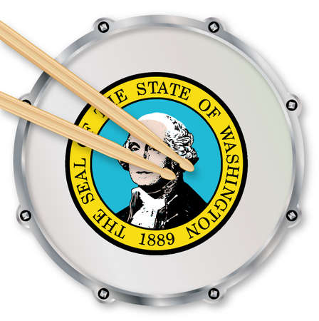 snare drum: Washington state seal snare drum batter head with tuning screws and  with drumsticks over a white background Stock Photo