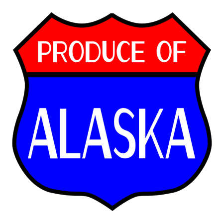 produce: Route 66 style traffic sign with the legend Produce Of Alaska