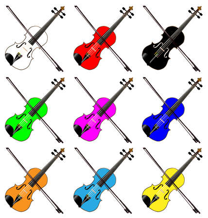 fiddles: A group of mult coloured fiddles all over a white background Illustration