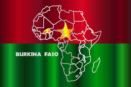 inset: Burkina Faso outline inset into a map of Africa