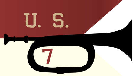 ensign: Bugle silhouette of the type used by the 7th cavalry over the 7th cavalry ensign Illustration