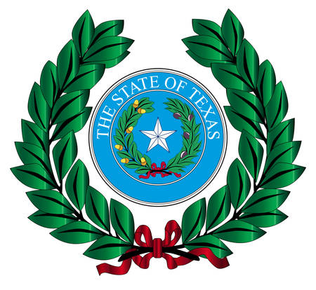 A wreath with the Texas state seal over white