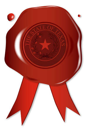 A wax seal with a the state seal of Texas