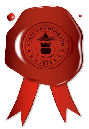 A wax seal with a the state seal of Colorado