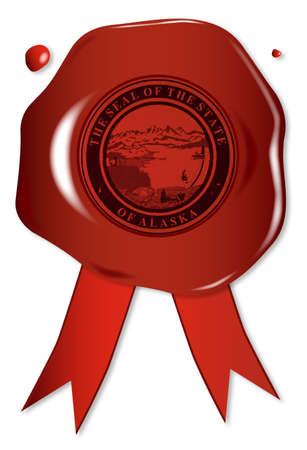 wax: A wax seal with a the state seal of Alaska