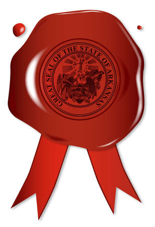 A wax seal with a the state seal of Arkansas