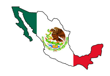 Silhouette map of Mexico over a Mexican flag