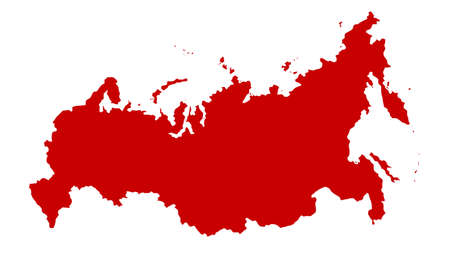 Map of Russia in red silhouette over a white background