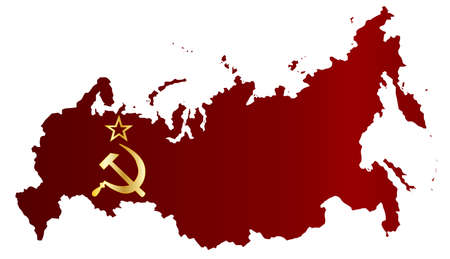 iron curtain: Map of Russia in flag silhouette over a white background