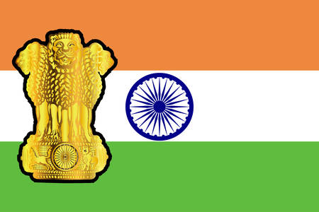 The flag and national emblem of India in white green and orange Illustration