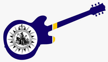 A depiction of the Nashville city flag below the silhouette of an electric guitar