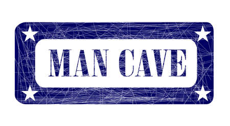 grunged: A grunged blue ink stamp with the words Man Cave over white