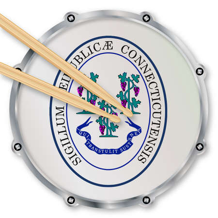 snare drum: Connecticut state seal snare drum batter head with tuning screws and  with drumsticks over a white background