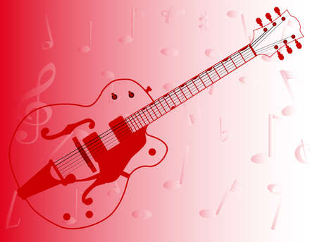 A typical country and western guitar in outline over a musical notes red background Illustration