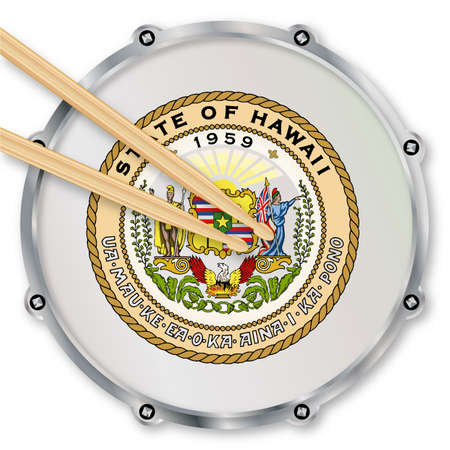 snare drum: Hawaii state seal snare drum batter head with tuning screws and  with drumsticks over a white background