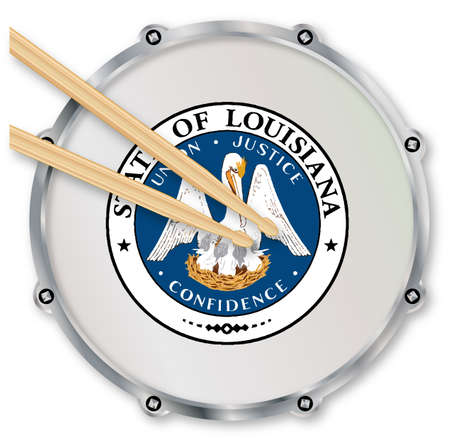 snare drum: Louisiana state seal snare drum batter head with tuning screws and  with drumsticks over a white background