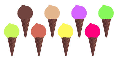 afters: 8 ice cream cones over a white background Illustration