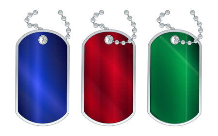 gree: A set of 3 red gree and blue dog tags with chain over a white background Illustration