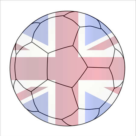 union jack flag: A typical soccer football isolated over a white background with the Union Jack flag imposed Illustration