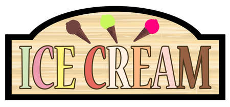 Ice Cream stylish wooden store sign over a white background Illustration