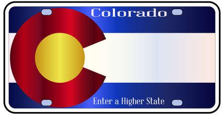Colorado staat kenteken in de kleuren van de vlag met de vlag pictogrammen op een witte achtergrond