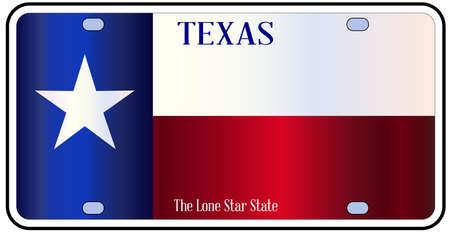 Targa Texas con la bandiera di stato in bianco rosso e blu con testo Lone Star State su uno sfondo bianco