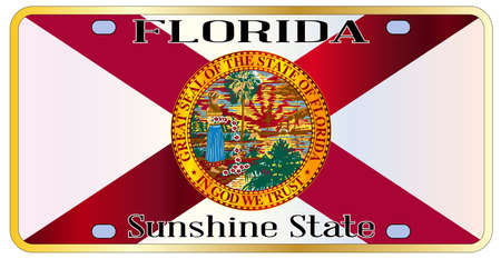 florida state: Florida state license plate with state flag over a white background