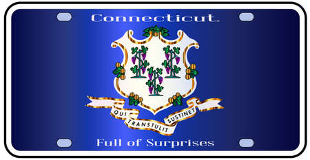 number plate: Connecticut state license plate in the colors of the state flag with icons over a white background Illustration