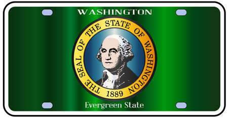 alaskan: Washington state license plate in the colors of the state flag with the flag icons over a white background