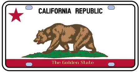 Nummerplaat van Californië in de kleuren van de vlag met de vlag pictogrammen op een witte achtergrond