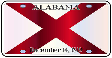alabama state: Alabama state license plate in the colors of the state flag with the flag icons over a white background