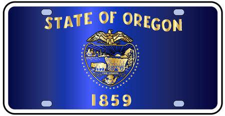Oregon targa dello stato con i colori della bandiera dello stato con le icone di bandiera su uno sfondo bianco