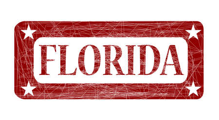 grunged: A grunged red ink stamp with the word Florida over white