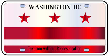 district of columbia: Washington DC state license plate in the colors of the state flag with icons over a white background