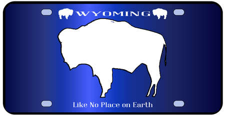 number plate: Wyoming state license plate in the colors of the state flag with the flag icons over a white background Illustration