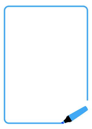 felt tip: Page border created by a blue highlighter felt tip pen