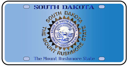 license plate: South Dakota  license plate in the colors of the state flag with the flag icons over a white background Illustration