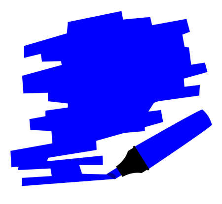 highlighter pen: A blue copy space marked out by a highlighter pen